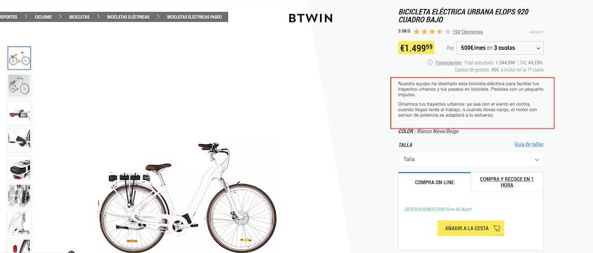 Ficha de producto bici decathlon